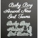 BRITANNIA DIES - BABY BOY GIRL TWINS NEW ARRIVAL - WORD SET 020