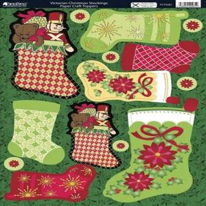 Victorian Christmas Stockings.Kanban Papercraft Toppers Victorian Christmas Stockings