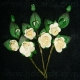 Paper Tea Roses with Leaves - Cream
