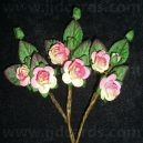 Paper Tea Roses with Leaves - Cream/Pink