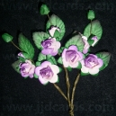 Paper Tea Roses with Leaves - White/Lilac