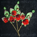Paper Tea Roses with Leaves - Burgandy
