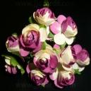 Paper Tea Roses - Purple & Ivory
