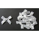 Swiss Dot - Satin Bows - White