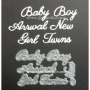 BRITANNIA DIES - BABY BOY GIRL TWINS NEW ARRIVAL - WORD SET 020