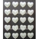 Self Adhesive Textured Ivory Hearts