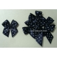 Dotty Bows - Dark Blue - White Dots