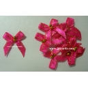Beaded Bows - Shocking Pink/Gold