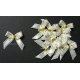 Beaded Bows - White/ Gold